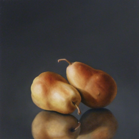 Two Yellow-Red Pears